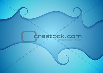 Abstract bright blue corporate wavy swirl background