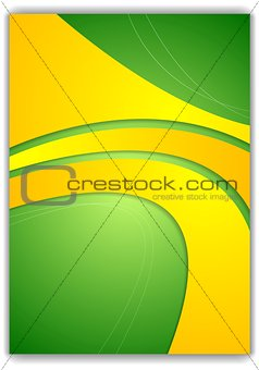Abstract green yellow wavy flyer design