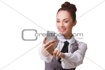 Beautiful girl taking selfie