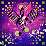 Retro microphone musical background