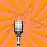 Retro microphone on paper background