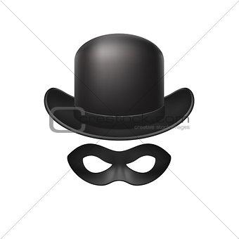 Bowler hat and eye mask in black design