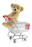 teddy bear with shopping cart