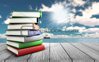 3D books on wooden table looking out to a yacht on the ocean