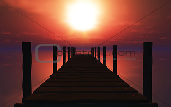 3D wooden jetty at sunset