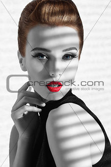 BW imagefemale in fashion close-up shoot