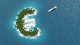 Tax haven, financial or wealth evasion on a euro shaped island.