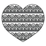 Mehndi, Indian Henna tattoo heart seamless pattern