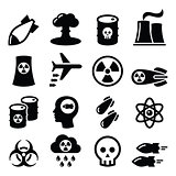 Nuclear weapon, nuclear factory, war, bombs icons set