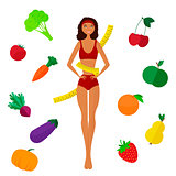 The slender dark-skinned and Slimming girl. Diet. Healthy life