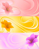 Three banners with flowers