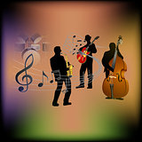 musical background with a saxophone, guitar and contrabass