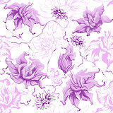 Purple flowers. Seamless