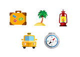 Flat icons set traveling on airplane, planning a summer vacation, tourism and journey object, passenger luggage.