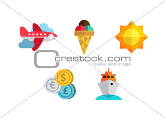 Flat icons set with long shadow effect of traveling on airplane, planning a summer vacation, tourism, journey objects and passenger luggage.