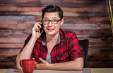 Happy Lesbian in Red Shirt on Phone