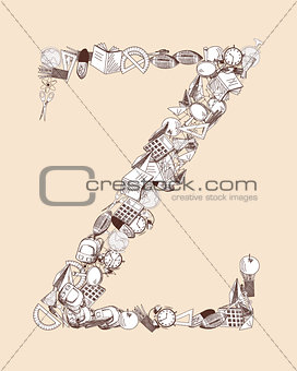 Alphabet letter with education theme
