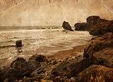 water of the ocean, big rocks on sea shore