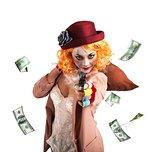 Clown thief steals money