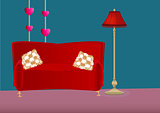 Cartoon bedroom with sofa, pillows and floor lamp