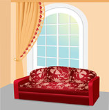 Red sofa near the window with lace curtain