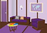 Vector modern interior room with violet furniture