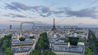 Skyline of Paris with eiffel tower at sunset