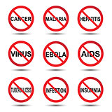 Vector illustration of stop icon virus concept