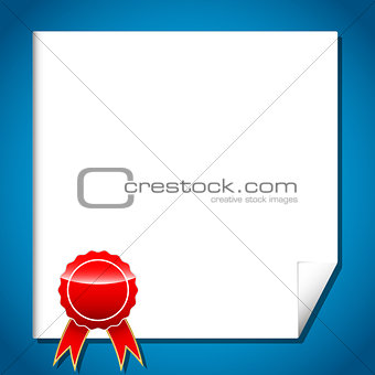 Certificate with red award label with ribbon