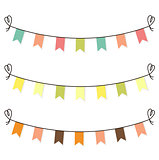 Cute flags clipart for baby shower set isolated on white