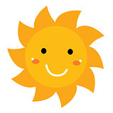 Pretty smiling Sun clipart isolated on white