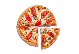 Top view of tasty Italian pizza with ham and tomatoes with a sli