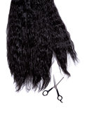 Long black curly hair with professional scissors
