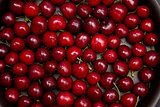 Top view of red cherry background