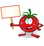 fun tomato cartoon with signboard isolated on white background