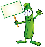 zucchini  cartoon with signboard isolated on white background