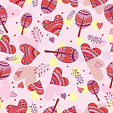 Seamless pattern of drawing doodle hearts