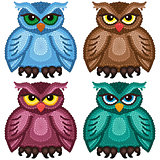 Set of four funny owls