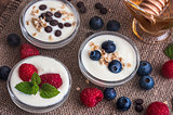 Yogurt with Fruits or Chocolate in Little Bowls