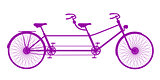 Retro tandem bicycle in purple design