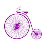 Silhouette of vintage bicycle in purple design