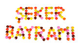 Seker Bayrami words written by colorful candy beans
