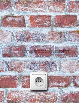 Old brick wall with socket