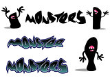 creepy monster font and character over white