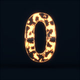 Glass glowing fire digit zero symbo
