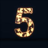 Glass glowing fire digit five symbo