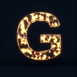 Glass glowing fire letter G symbol