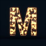Glass glowing fire letter M symbol