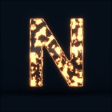 Glass glowing fire letter N symbol