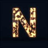 Glass glowing fire letter N symbol